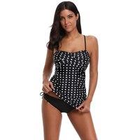 Sexy Polka Dots Stripes Printed Surplice Bikini Two Pieces Swimsuit Swimwear Ruched Bikini Top Solid Tankini