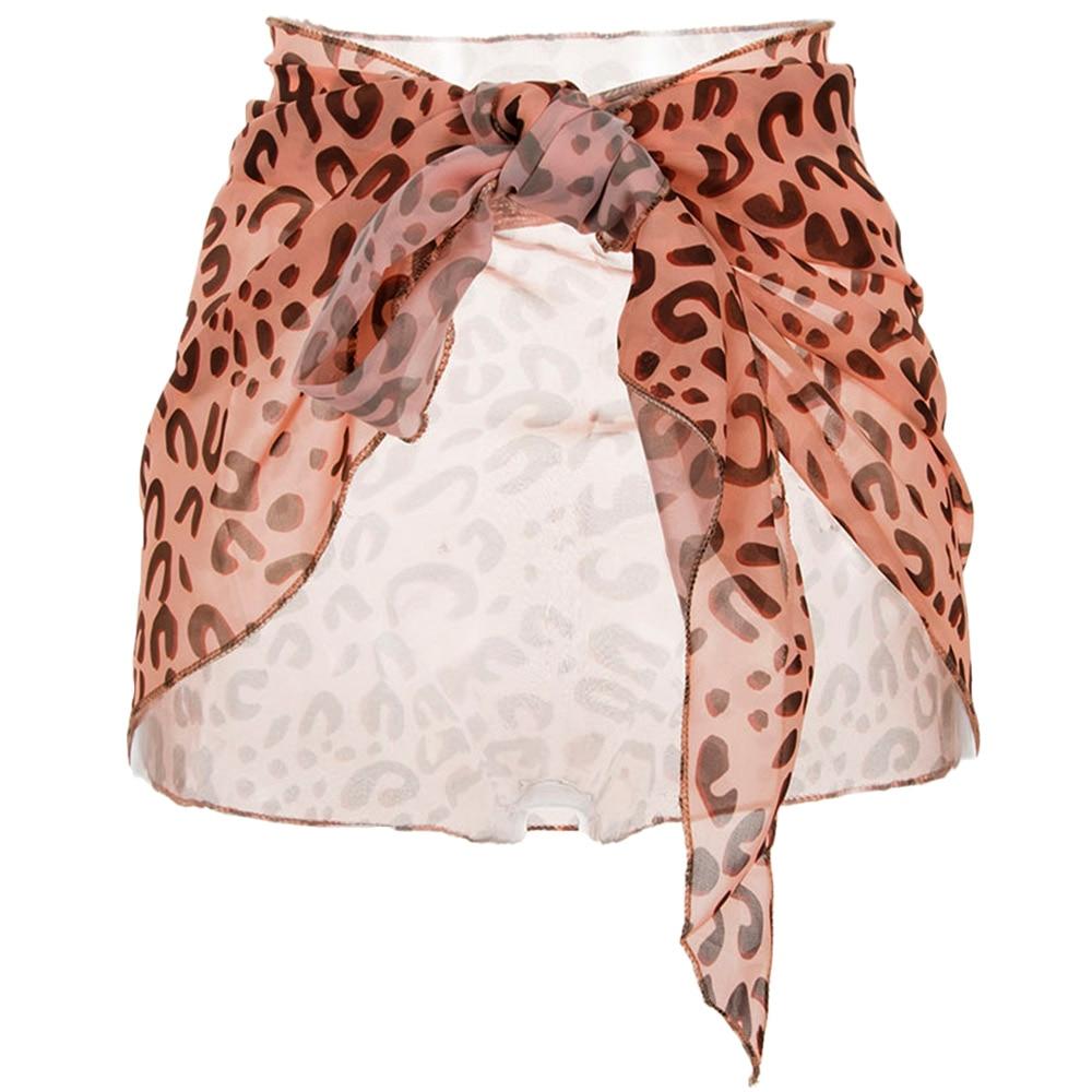 2019 New Summer Sexy Women Leopard Chiffon Sarong Wrap Scarf Beach Bikini Swimwear Skirt Cover Up