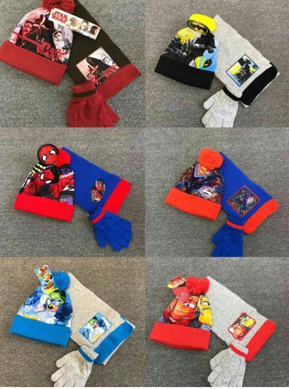 1set Star Wars Batman Cars Spiderman Superman Mickey Knit Beanie Hat Children Christmas Winter Knitted Scarf Gloves Hat Set 2-8Y