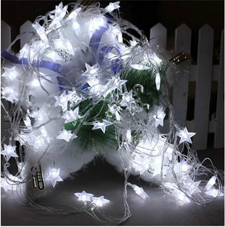220V / 110V 10M 100Led Frosted Crackle Star Garland String Lights - Pencahayaan perayaan - Foto 4