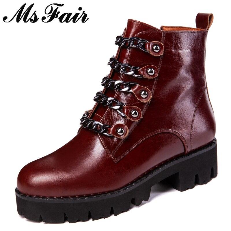 bd0282577 Dedo Cremallera Cadena leather Del Las De Metal Tobillo short Leather Red Redondo  Zapatos Grueso Mujeres Mujer Pie Cuero Fondo ...