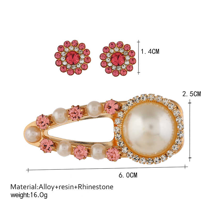 Exquisite barrettes & earrings jewelry set for women with inlay faux pearl /rhinestone/shell design female hair Pins & Kolczyki
