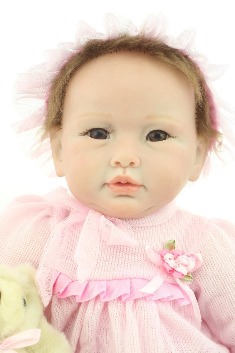 New Arrival 22 55cm Silicone Reborn Baby Doll Lifelike Pink dress Princess Doll Best Gift to Kid/Child/Baby Grils brinquedos 22 58cm rebirth doll soft silicone eva matryoshka doll princess reborn domino dress blond kid christmas gift