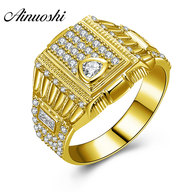 AINUOSHI Luxury 10K Solid Yellow Gold Men Ring 6.7g Wedding Band Rectangle Cluster Ring Wedding Engagement Gold Jewelry Men BandAINUOSHI Luxury 10K Solid Yellow Gold Men Ring 6.7g Wedding Band Rectangle Cluster Ring Wedding Engagement Gold Jewelry Men Band