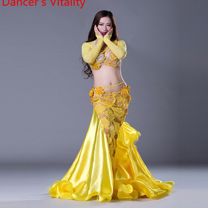 Image 3 - NEW stage Luxury Girls Belly Dance Costumes Long Sleeves Bra+Lace Skirt 2pcs Belly Dance Suit Women Ballroom Dance Set