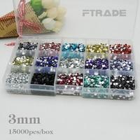 15000pcs 3mm 15 Color Mixed Nail Art Rhinestones Clear Plastic Storage Case 1000pcs Color Altogether 15