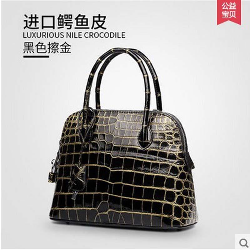 feafaa04147a gete 2016 new import Thailand Siamese real crocodiles belly female shoulder  bag handbag inclined shoulder women