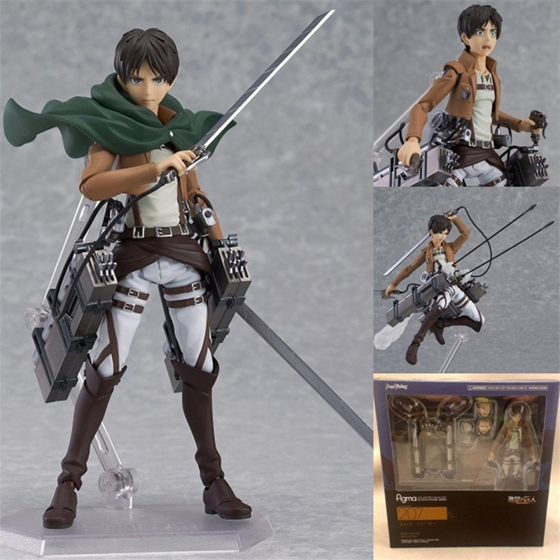 Anime Attack on Titan Figure Figma 207 Eren Jaeger PVC Action Figures Juguetes Collection Model Kids Toys Doll 15cm anime one piece dracula mihawk model garage kit pvc action figure classic collection toy doll
