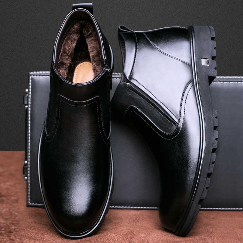Кожаные туфли мужские 2018 Зимние новые мужские зимние сапоги, теплые  сапоги для отдыха, старые 215c92b2e7d