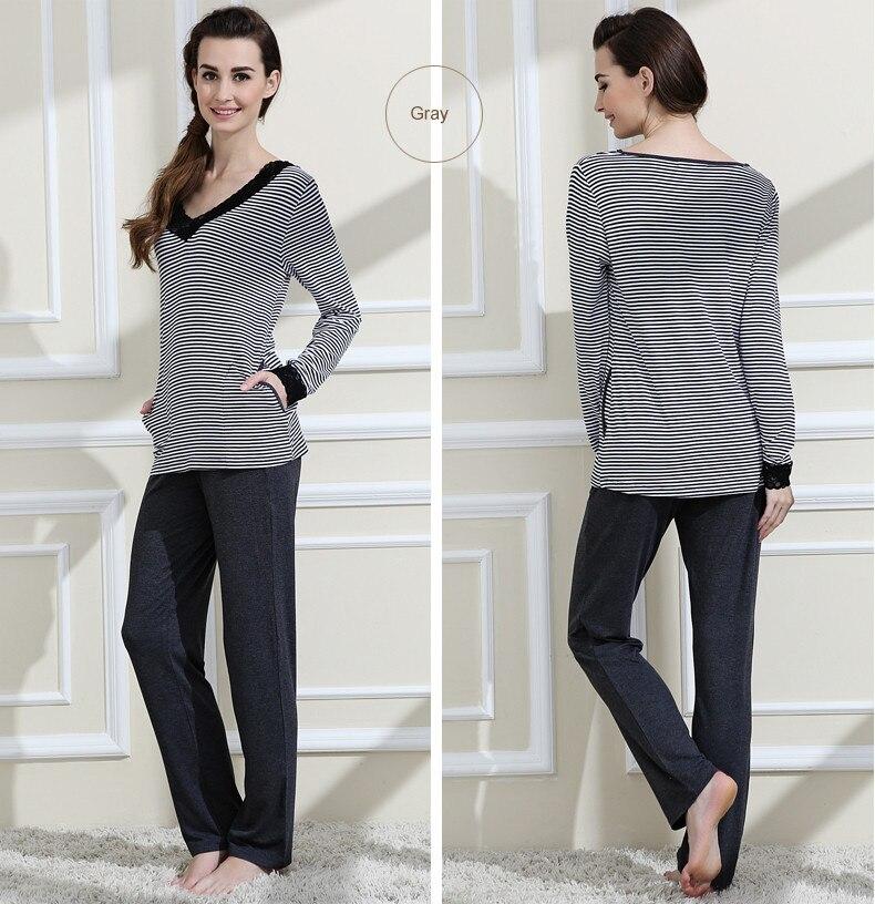 Spring Female Casual Striped Pajama Sets Women Long Sleeve V-Neck Collar T Shirt + Pants Girl Soft Mo Cotton Sleepwear Suit
