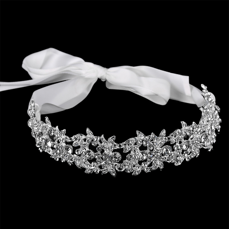 Handmade Crystal Flowers Ribbon Bridal Headband Tiara Crown Silver Wedding Hair Accessories Elegant Rhinestone Women Head Pieces