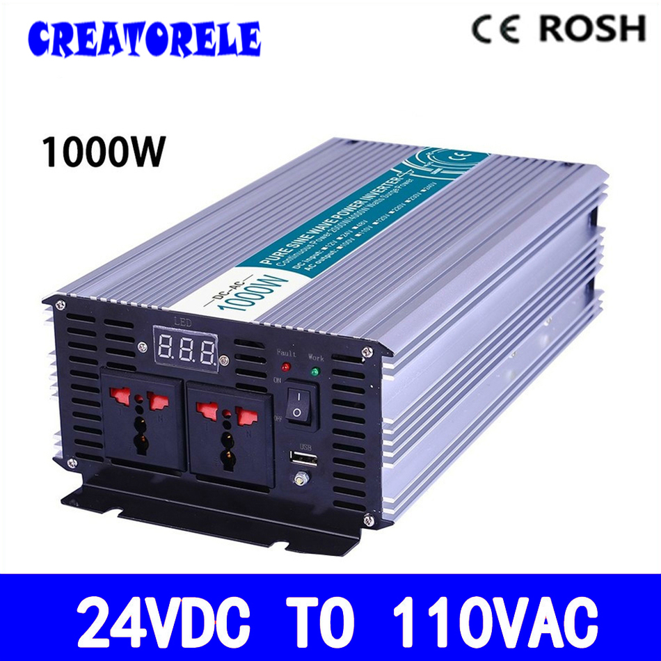 P1000-241 pure sine wave 1000w inverter solar power inverter dc 24v to ac 110vac  LED Display voltage converter solar power on grid tie mini 300w inverter with mppt funciton dc 10 8 30v input to ac output no extra shipping fee