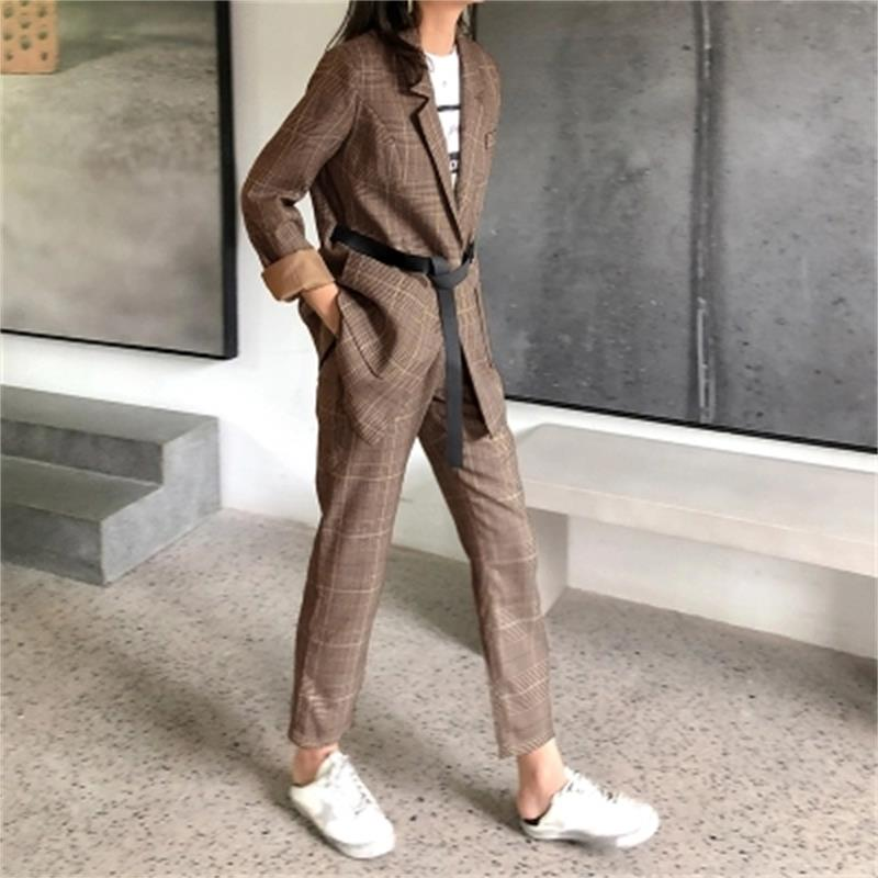 Fashion Plaid Blazer Women s high quality New Spring Autumn England Wind Loose Casual Plaid Small