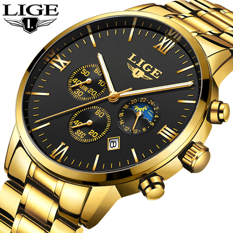LIGE Fashion Top Brand Luxury Gold Watches Men's Stainless Steel  Waterproof Quartz Clock Male Military Watch Relogio Masculino