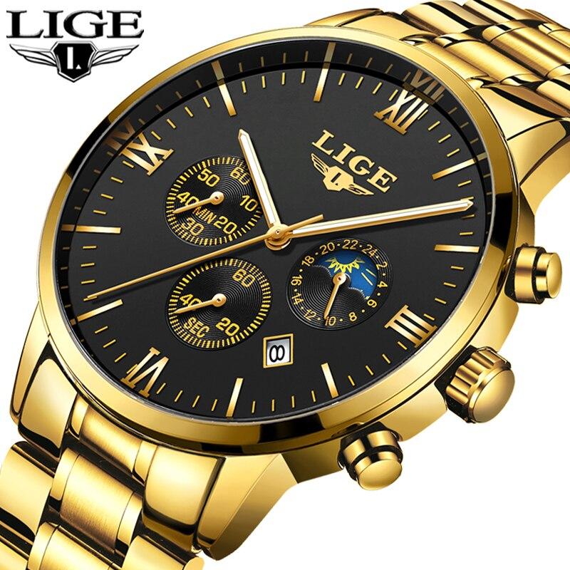 Uhren Männer Luxus Marke LIGE Chronograph Männer Sport schwarz Uhren Wasserdicht Voller Stahl Quarz herren Uhr Relogio Masculino