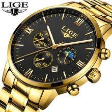 Montres hommes marque de luxe LIGE chronographe hommes sport montres noires étanche montre pour hommes à Quartz entièrement en acier Relogio Masculino