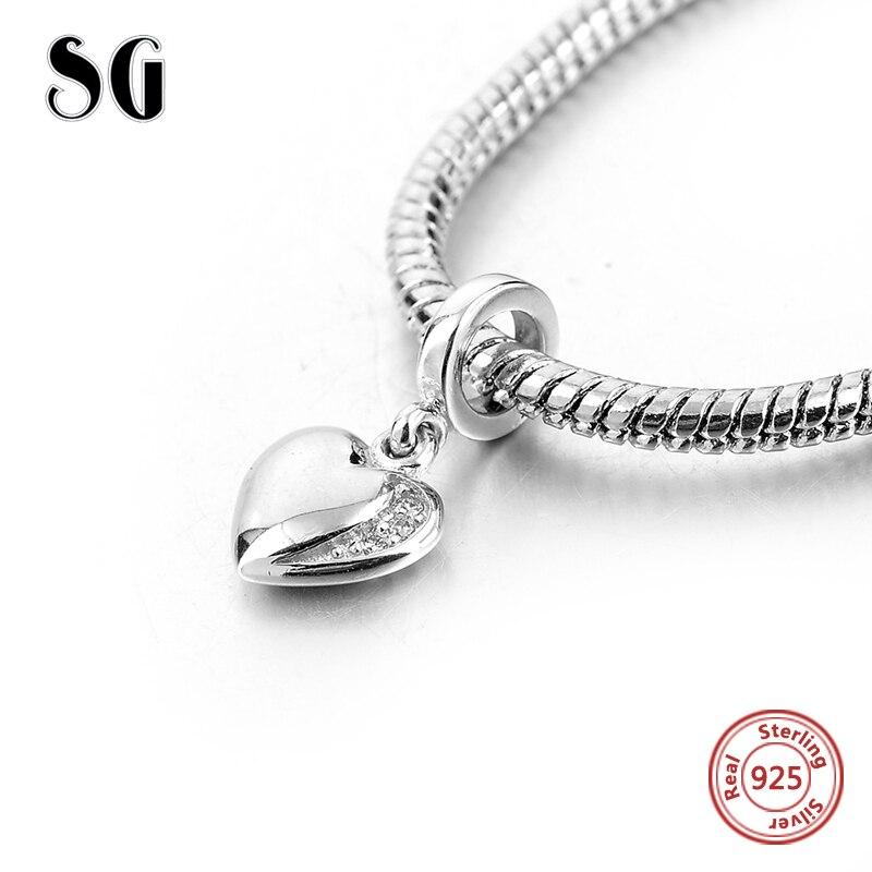 Livraison gratuite 925 En Argent Sterling perles D'origine Amour Charms fit pandora Bracelet Pendentif Antique sterling-argent-bijoux Cadeaux
