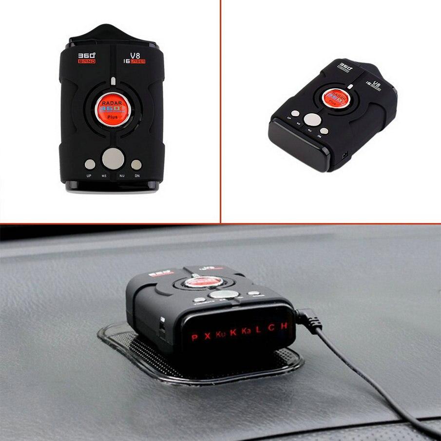 Date V8 360 Degrés Détecteur De Radar De Voiture 16 Bande Russe/Anglais Version LED Affichage Anti Radar Détecteur XK NK Ku Ka Laser Chaude