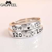 GAGAFEEL 100 Genuine 925 Sterling Silver Ring For Lover Couple Men Women Trendy Adjustable Design With