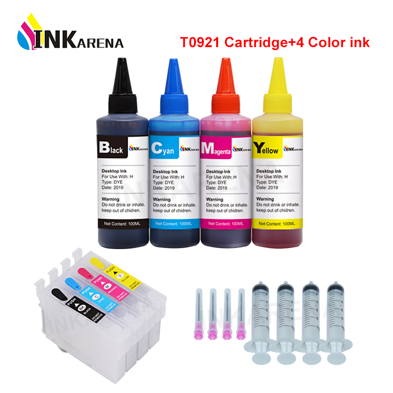 T0921N Ink Cartridge For Epson CX4300 TX119 TX117 C91 TX106 TX109 T26 T27 Cartridges Refillable T0921 + 100ml Printer Refill InkT0921N Ink Cartridge For Epson CX4300 TX119 TX117 C91 TX106 TX109 T26 T27 Cartridges Refillable T0921 + 100ml Printer Refill Ink