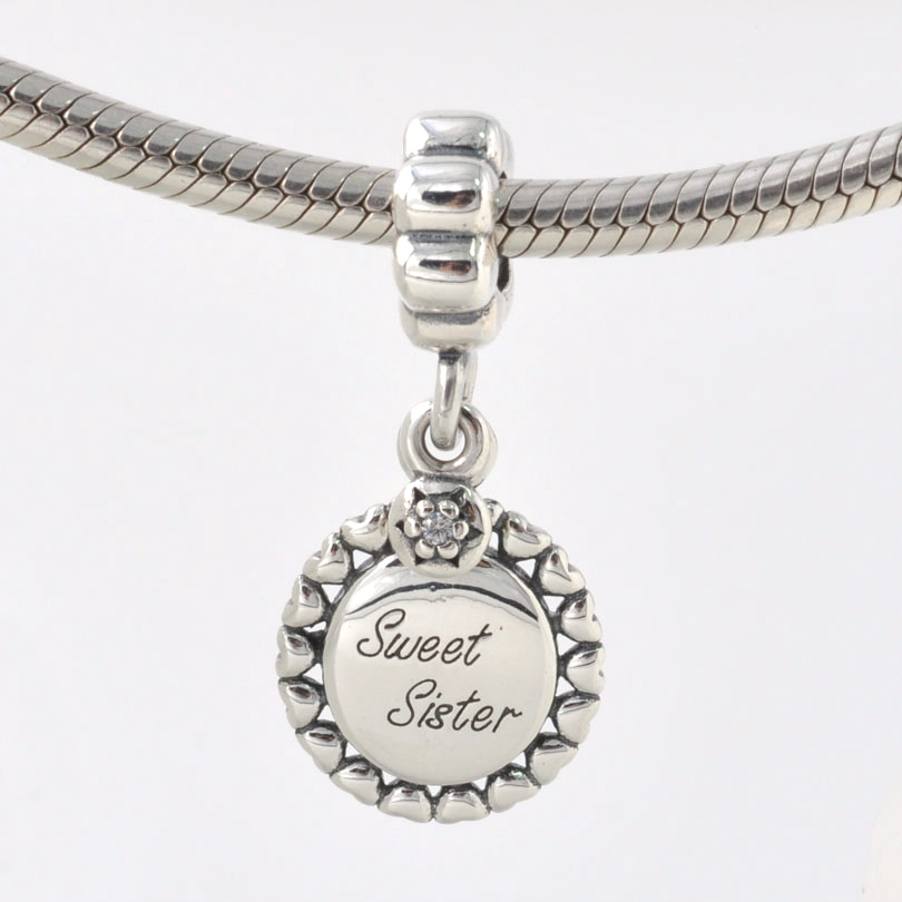 Pandora Jewelry Sister Charm: Fits Pandora Charms Bracelet Necklace 925 Sterling Silver