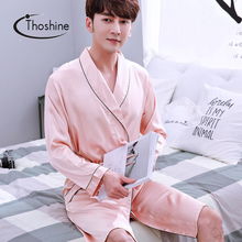 Thoshine Brand Spring Autumn Style Classical China Satin Silk Men Robes Turn Down Collar Nighties Male Bathrobe Pijama Sleepwear