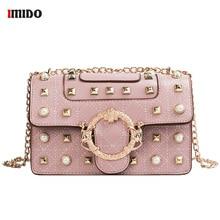Women Metal Rivet Shoulder Bags Women's Pearl Handbag Leather Flap Crossbody Purse High Quaity Punk Black Pink Small Chain Bags rivet detail flap handbag
