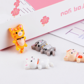 ZOCDOU 1 Piece Lie Down Cat Kitty Japan Small Statue Mini Figurine Crafts Ornament Miniatures Play House Car Desk DIY Decor image