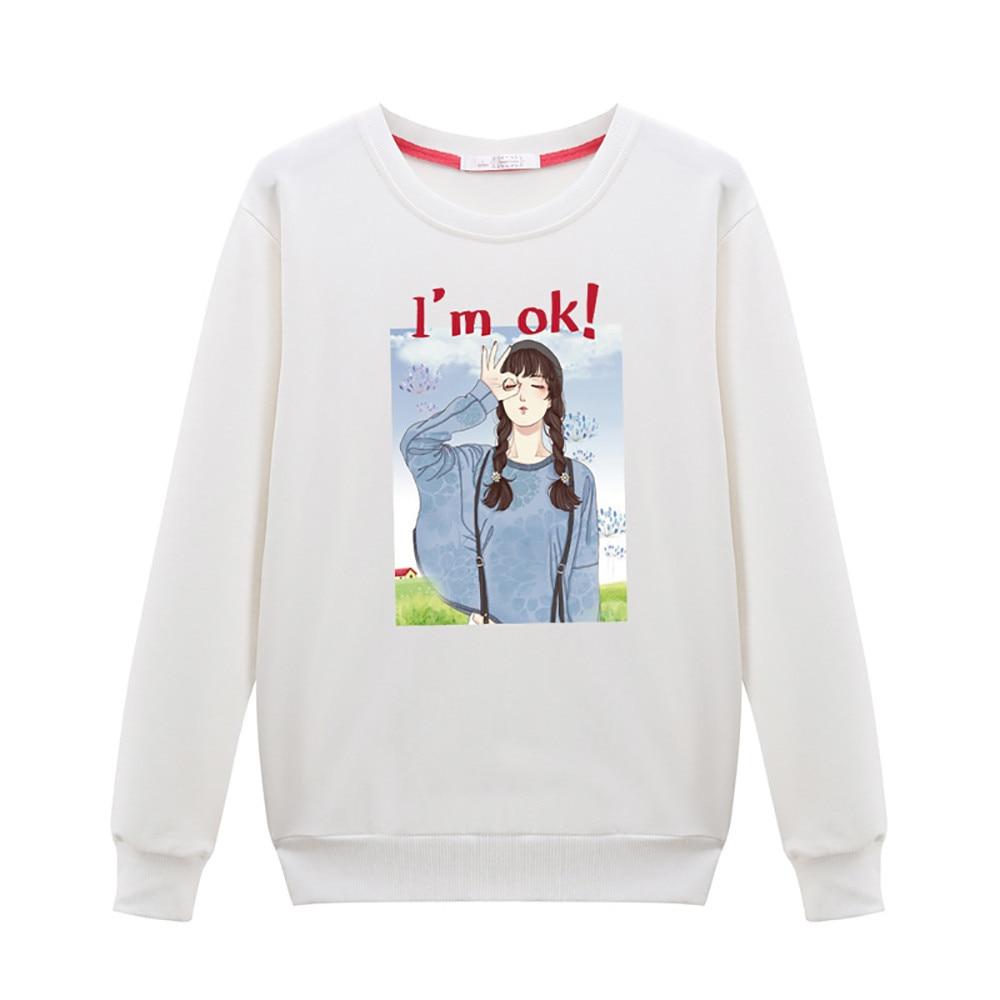 hoodies sweatshirt women 2018 Women Leisure Long Sleeve Lovely Girl's Head shirt Round Neck Sweatshirt