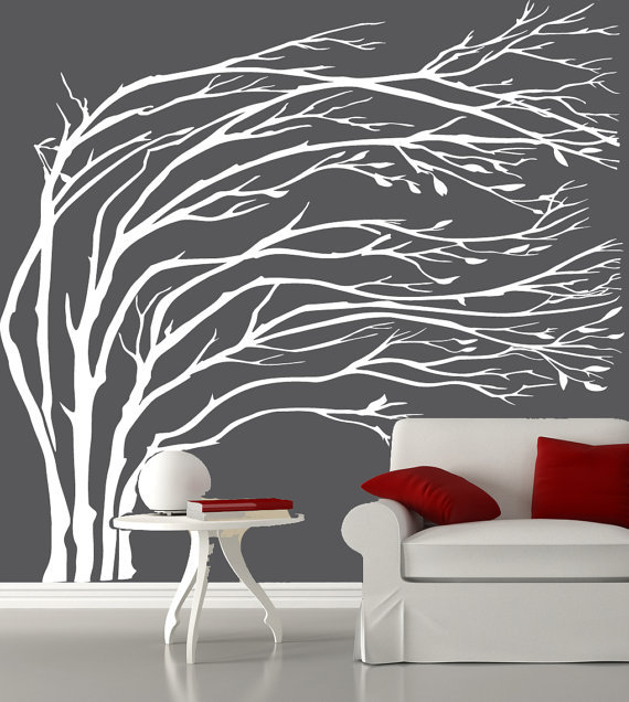 Modern White Blowing Tree Wall Decal Silhouette Tree Decals Vinyl Wall  Sticker Living Room Wall Stickers