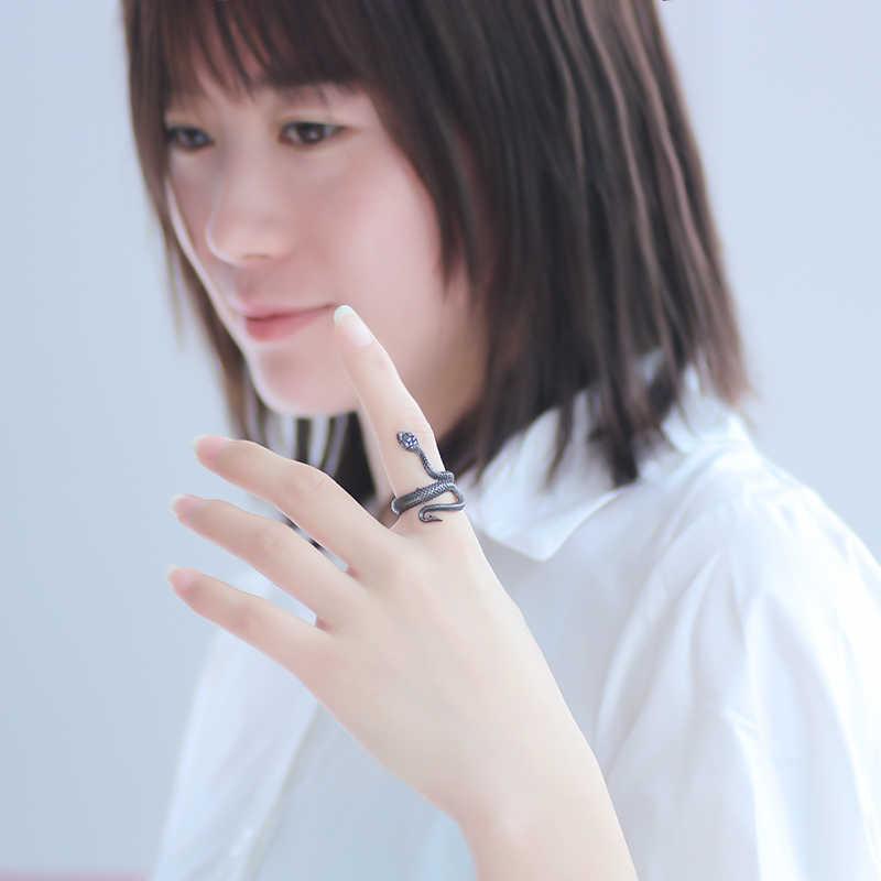 Панк кольцо с изображением животного готика черные серебряные металлические кольца в виде змейки для женщин мужчин ночной клуб унисекс регулируемые Anillos ювелирные изделия Прямая доставка