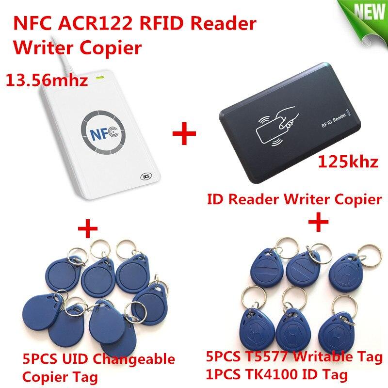 NFC ACR122U HF RFID Carte et 125 KHZ ID Lecteur Graveur Double Fissure clone S50 M1 UID Changeable EM4100 T5577 RFID Carte + Copie Outil