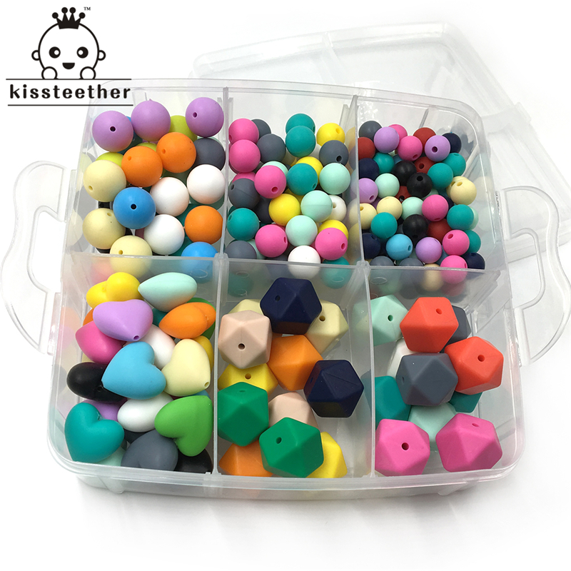 DIY Nursing Jewelry Combination Package Mixed Color Heart-Shaped Silicone Natural Round Geometry Hexagon Silicone Beads