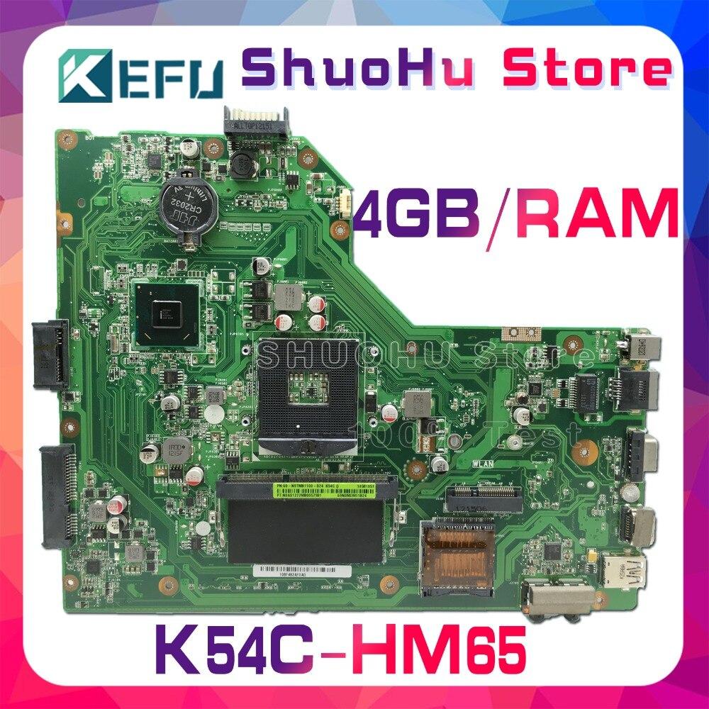 For ASUS K54C X54C Laptop motherboard REV.2.1 HM65 4GB RAM INTEL Mainboard