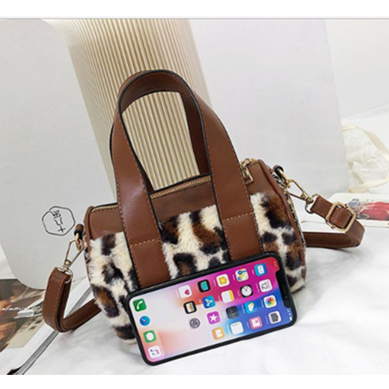 Faux Leather Suede Cross Body Bags For Women Velvet Large Hand Bag Leopard Print