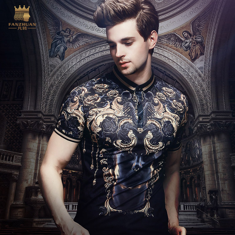 Free Shipping New Fanzhuan Man Male Men's Casual 2018 Summer Short Sleeved Baroque Print Slim POLO Shirts Personality 825136