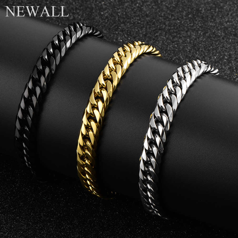 Newall 2019 Men's Top Quality Stainless Steel Silver Cuban Curb Chain Bracelet  8-14mm thicker width TrendyJewellery wholesale