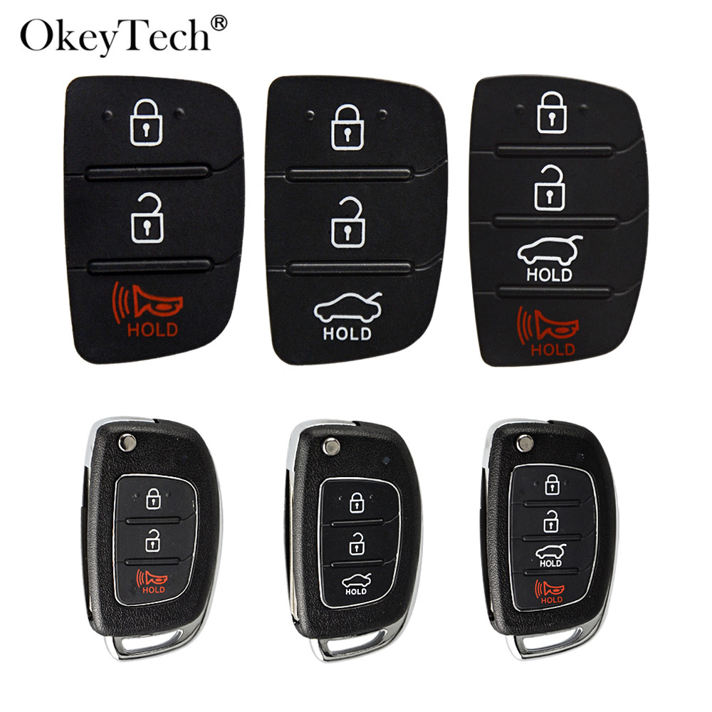 OkeyTech 3/4 Buttons Replacement Remote Car Key Key Shell Repair For Mistra Hyundai HB20 SANTA FE IX35 IX45 Key Cover Case