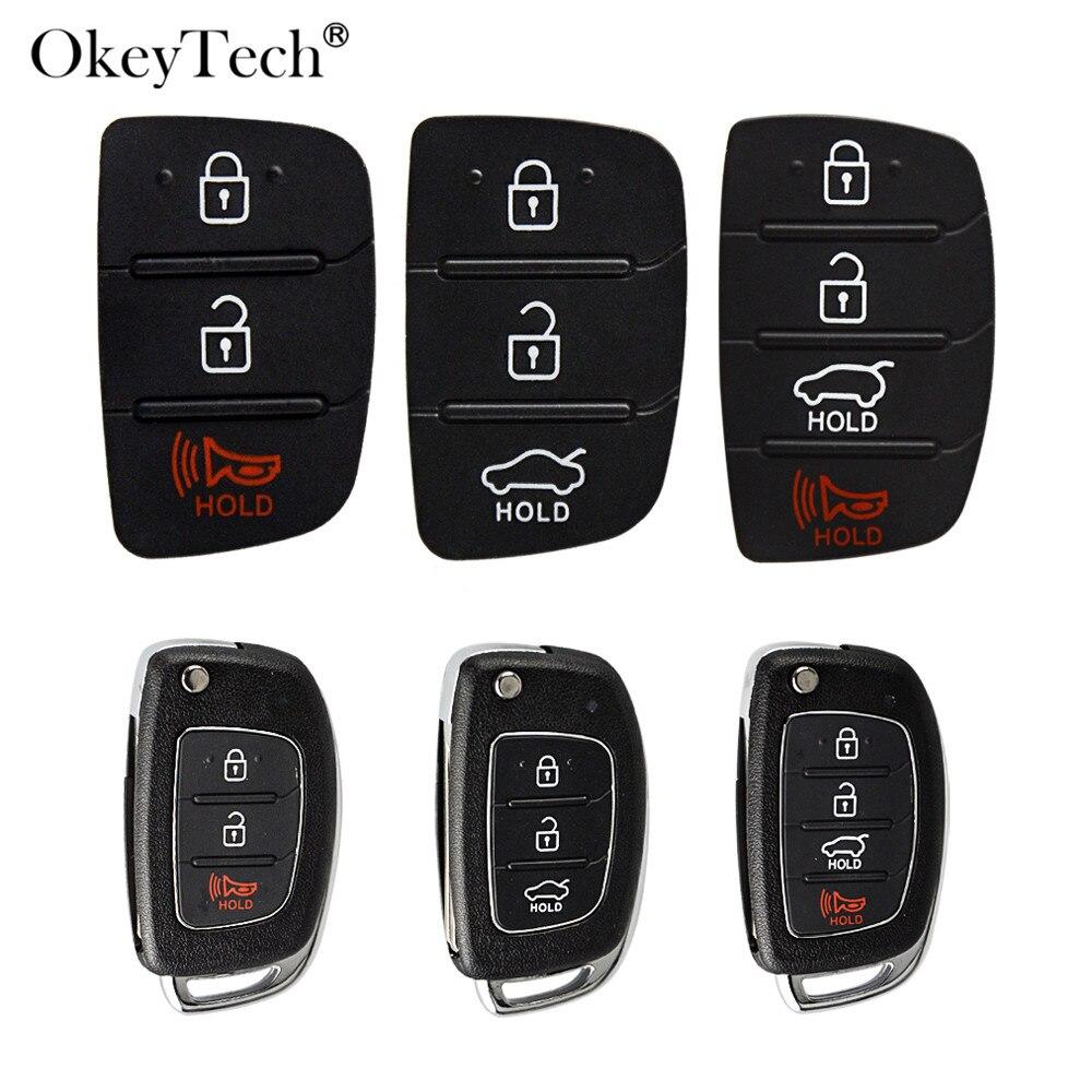 OkeyTech 3/4 Buttons Replacement Remote Car Key Key Shell Repair For Mistra Hyundai HB20 SANTA FE IX35 IX45 Key Cover Case