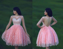 Spitze Kurze Heimkehr Kleider 2015 A-line Kappen-hülsen Rosa Perlen Open Back Mini Cocktailkleider Graduation Kleid