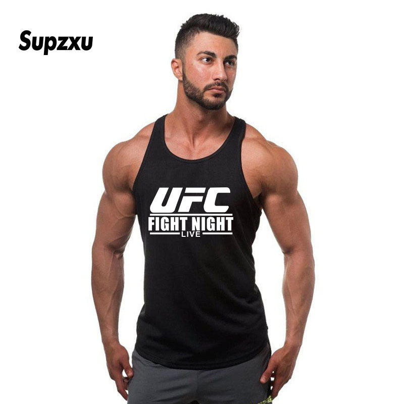 New UFC Cotton Gyms   Tank     Tops   Men Sleeveless Tanktops For Boys Bodybuilding Clothing Undershirt Fitness Stringer Golds Vest