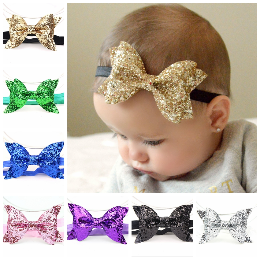 Yundfly Fashion Sequin Bow Hair Band Children Kids Headdress Baby Girls Head Wear Party Birthday Gift Newborn Photo Shoot
