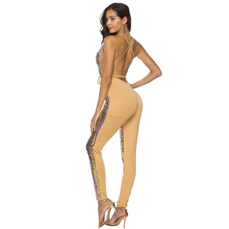 Для женщин комбинезон Глубокий V спинки блёстки тощий спагетти ремень с пояса сексуальный комбинезон блеск широкие брюки для клуба, вечеринок дропшиппинг