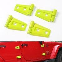 12 pçs/set ABS Amarelo/Verde Capô Tampa Da Dobradiça Da Porta Guarnição Quadro Decoração Apto Para Jeep Wrangler JK 2 Porta 2007-2016 Car Styling