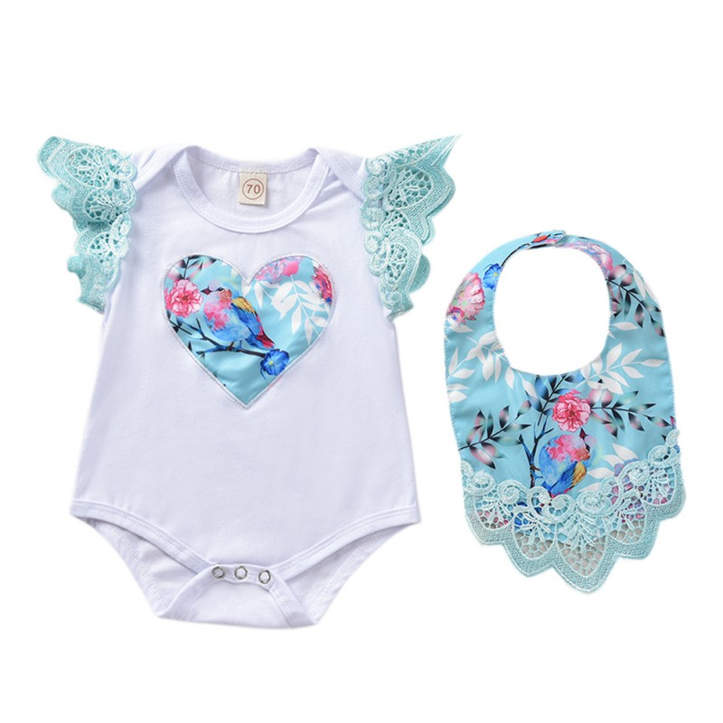 Cute O-Neck Pullover Print Baby Girl Clothes Cotton Baby Girl Clothing Sets Heart Pattern Romper+Bib Infant Clothes 2pcs SuitCute O-Neck Pullover Print Baby Girl Clothes Cotton Baby Girl Clothing Sets Heart Pattern Romper+Bib Infant Clothes 2pcs Suit