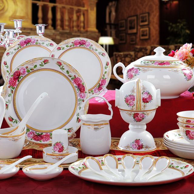 buy high end bone china dinnerware set ceramics tableware korean style. Black Bedroom Furniture Sets. Home Design Ideas