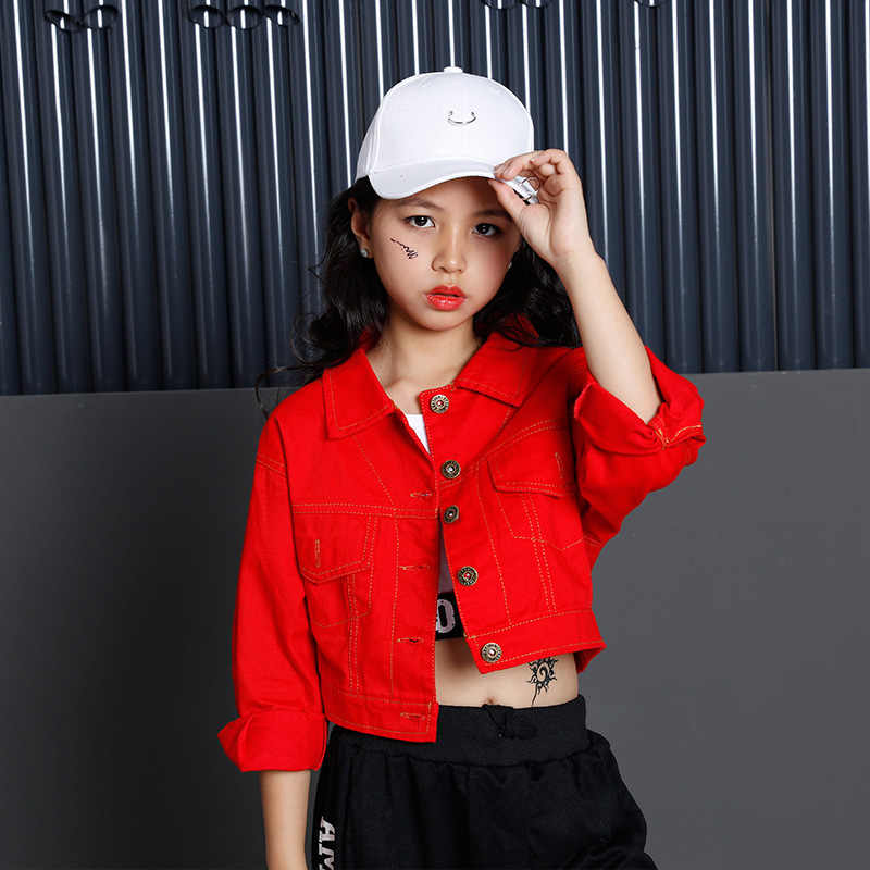8211e8b4dee2 ... Teenage Girls Clothing Set 2018 Cotton Red Crop Jacket Top Pant Three  Pieces Sets For Kids ...