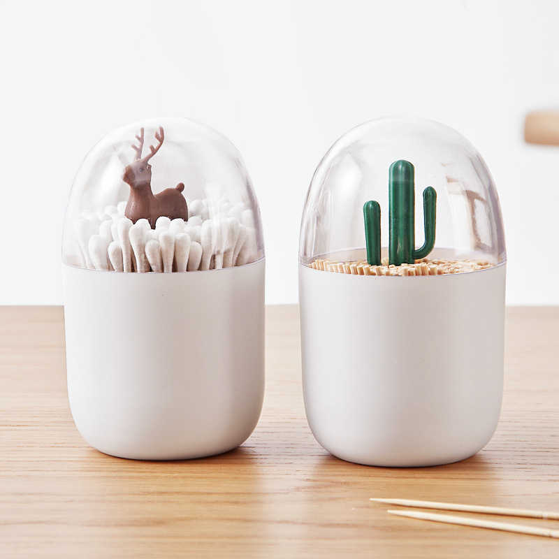GOONBQ 1 pc Table Decorate Transparent Cactus Tree Toothpick Storage Box Cotton Swab Box Dust toothpick Box Storage Organizer