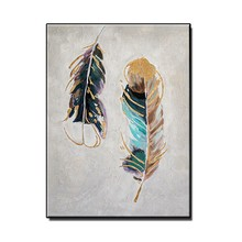 MYT Abstract Gold Feather Pictures Painting Hand Painted Wall Decor Oil Painting Art Home Wall Decoration Free Shipping Painting(China)