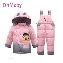 Monkey Pattern Child Duck Down Jacket Set Kids Boys Winter Clothing Sets Pants-jacket for Baby Girls Winter Hooded Jacket Coat